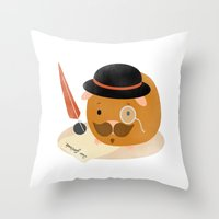 guinea pig Throw Pillows featuring Guinea Pig Portrait 2 by NdKf