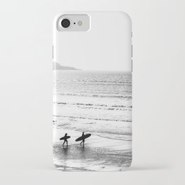 Surfers, Black and White, Beach Photography iPhone Case