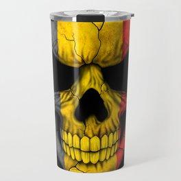 Dark Skull with Flag of Belgium Travel Mug