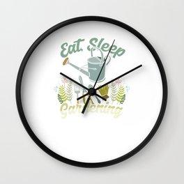 Eat Sleep Gardening Repeat Planting Floriculture Gardener Plants Shovel Gift Wall Clock