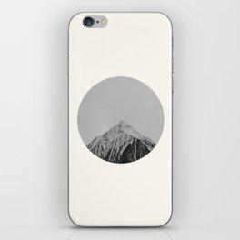 Mid Century Modern Round Circle Photo Grey Minimalist Monochrome Snow Mountain Peak iPhone Skin