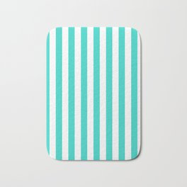 Narrow Vertical Stripes - White and Turquoise Bath Mat