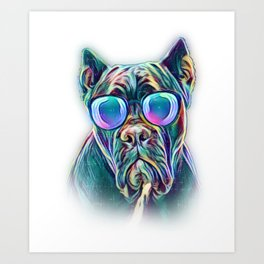 Cane Corso Neon Dog Sunglasses Art Print