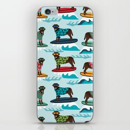 Chocolate Labrador surfing dog breed pattern iPhone Skin