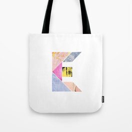 Collaged Tangram Alphabet - E Tote Bag