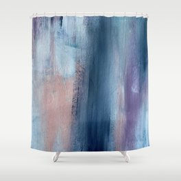In a Blur: an abstract mixed media piece in pinks, blues, and purple Shower Curtain