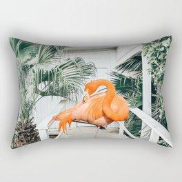 Flamingo Beach House #photography #digitalart Rectangular Pillow
