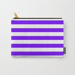 Narrow Horizontal Stripes - White and Indigo Violet Carry-All Pouch