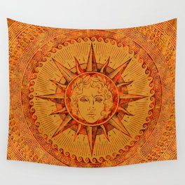 Apollo Sun God Yellow and Red Marble Wall Tapestry