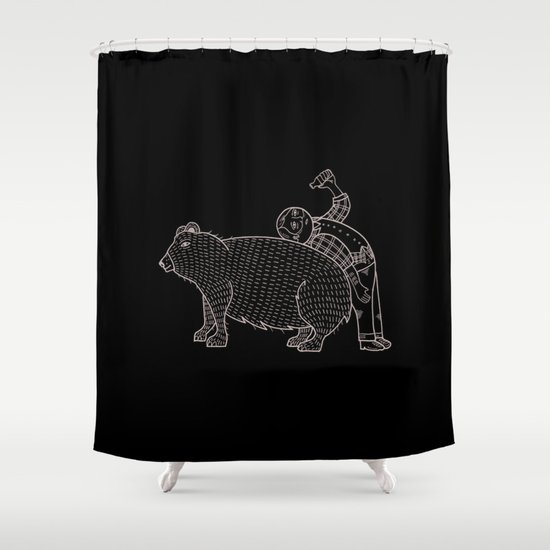 The Known Practice of using Domesticated Bears as cushions while drinking.  Shower Curtain