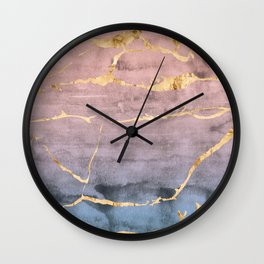 Watercolor Gradient Gold Foil Wall Clock