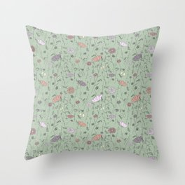 Ready for Spring print // loose flowers and soft colors  Throw Pillow