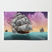 ships Area & Throw Rugs featuring Rigged Ships by Yoly B. / Faythsrequiem