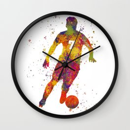 Soccer player isolated 02 in watercolor Wall Clock