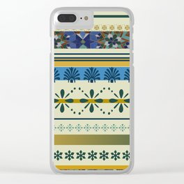 Stipes ornaments designs blue yellow Clear iPhone Case