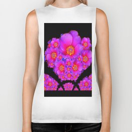 Colorful Purple-Red Fuchsia Flowers Black Modern Art Design Abstract Biker Tank