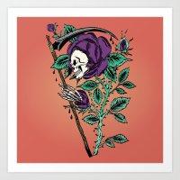 Grim Reaper Rose Art Print