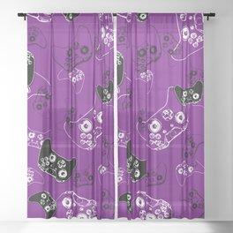 Video Game Purple Sheer Curtain