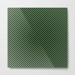 Hippie Green and Black Polka Dots Metal Print
