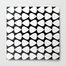 Plectrum Pattern in White and Black Metal Print