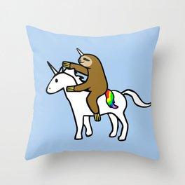 Slothicorn Riding Unicorn Throw Pillow