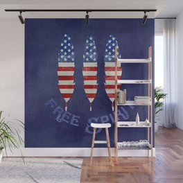 American Flag Stars and Stripes Free Spirit Feather Wall Mural