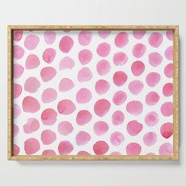 Pink Polka Dot Watercolour Serving Tray