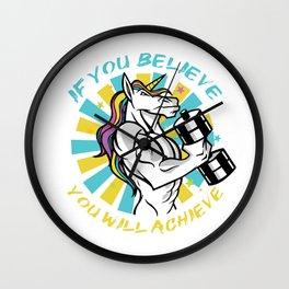 If you believe you will achieve, Unicorn Gym Gains Wall Clock