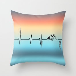 The Mountains are My Hearbeat Throw Pillow