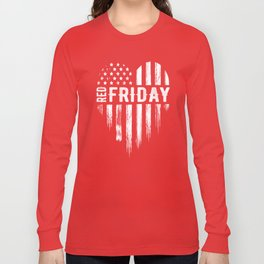 Red Friday Distressed USA Heart Military Long Sleeve T-shirt