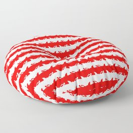 Bondi Beach Red and White Shark Attack Beach Stripe Floor Pillow