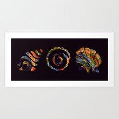 Deep Sea Shell Trio Art Print