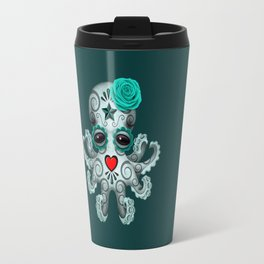 Teal Blue Day of the Dead Sugar Skull Baby Octopus Travel Mug