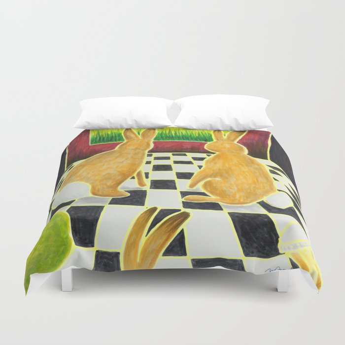 Bongo Bunnies in the Basement with a Bowling Ball Duvet Cover