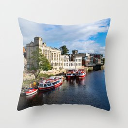 York City Guildhall and river Ouse Throw Pillow