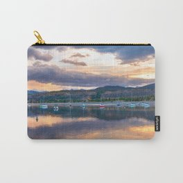 Calm Waters // Lake and Boats at Sunset Beautiful Landscape Photograph Scenic Mountain View Carry-All Pouch