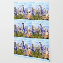 Seattle View in watercolor Wallpaper
