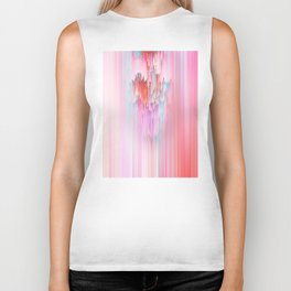 Abstract Cascade Glitch 2.Red and Pink Biker Tank
