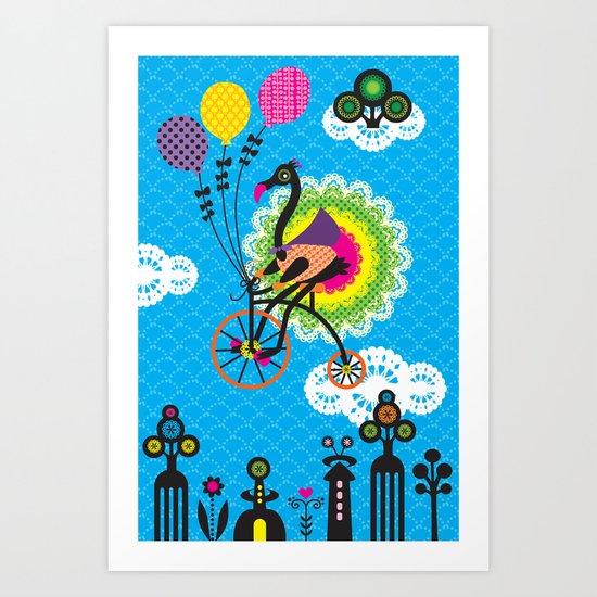 Peacock riding a bike Art Print