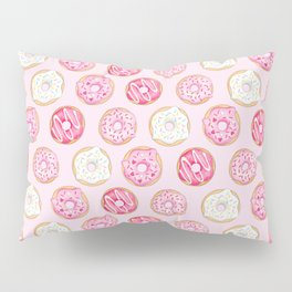 Pink Donuts Pattern on a pink background Pillow Sham