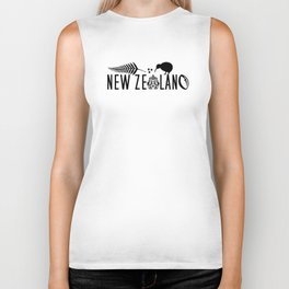New Zealand Icons - Maori Kiwi Fern Rugby Biker Tank