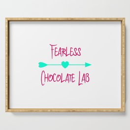Fearless Chocolate Lab Cute Dog Serving Tray