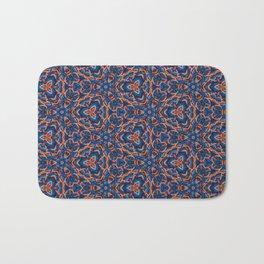 Beautiful Blue and Orange Beadwork Inspired Print Bath Mat