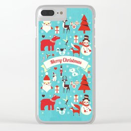 Christmas icons illustration Clear iPhone Case