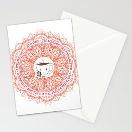 Cute Tea Lover Mandala with Tea Quotes Stationery Cards