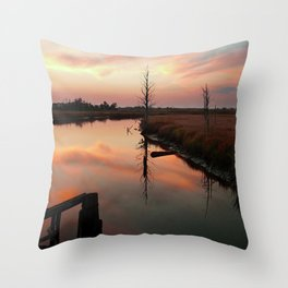 Sunset on Smith Creek Wilmington, NC Throw Pillow