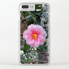 Southern Pink Camellia Clear iPhone Case