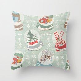 snow globes pattern Throw Pillow
