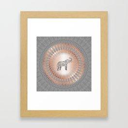 Rose Gold Gray Elephant Mandala Framed Art Print