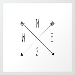 Compass - North South East West - White Art Print